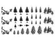 Pine Trees 1.3cm - 2.9cm - Black 14CC382 Fused Glass Decals