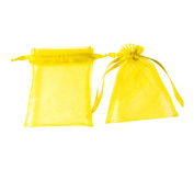 100pcs Yellow Organza Drawstring Pouches Jewellery Party Wedding Favour Gift Bags 10cm x 7.6cm