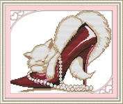 Happy Forever Cross Stitch, The cat in the high heels 3