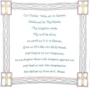 Jack Dempsey Stamped White Wall/Lap Quilt, 90cm by 90cm , Lord's Prayer
