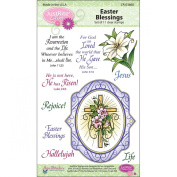 Justrite 11-Piece Papercraft Clear Stamp Set, 10cm by 15cm , Easter Blessings Oval Medallions