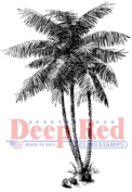 Deep Red Rubber Cling Stamp Coconut Palm Tree Island Beach Theme