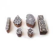 Mix Hand Carved Paisley & Floral Designs Wooden Blocks for Printing