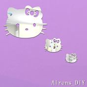Alrens_DIY(TM)3pcs Cute Cats Crystal DIY Mirror Effect Reflective 3D Wall Stickers Home Decoration Living Room Bedroom Bathroom Decor Mural Decal adesivo de parede Removable Kid's Room Design Art