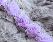 5 Yard Shabby Rose Trim 70 Shabby Flowers Shabby Frayed Chiffon Flowers Lavender Purple Wedding Hair Accessory Headband LA075