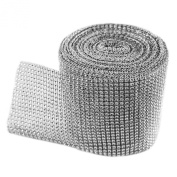 Silver Diamond Sparkling Rhinestone Mesh Ribbon for Event Decorations, Wedding Cake, Birthdays, Baby Shower, Arts & Crafts, 12cm x 10 Yards, 24 Row, 1 Roll by Super Z Outlet®