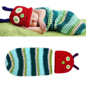 Yonger Cute Caterpillar Style Baby Infant Newborn Handmade Crochet Beanie Hat Clothes Baby Photograph Props