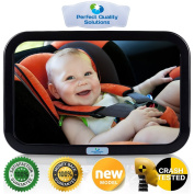 Baby Back Seat Car Mirror by Perfect Quality Solutions for Rear Facing Baby Carrier and Car Seats is Crash-Tested Shatter-Proof and Distortion-Free Includes 100% Satisfaction Guarantee