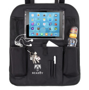 Bearoy Car Back Seat Organiser with Touch Screen iPad and Tablet Holder up to 28cm & Insulated Thermo Pockets for Drinks