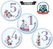 Baby Monthly Stickers For Boy, Milestones For Months 1-12, Every Month Take Pictures And Add To Scrapbook As Keepsake-To Put On Bodysuit, Bibs Or Onesie- Best Baby Shower Gifts! With 4 Bonus Stickers