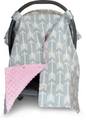 Premium Carseat Canopy Cover with Peekaboo Opening- Large Arrow Print with Soft Pink Dot Minky | Best for Infant Car Seat, Boy or Girl | All Weather | Universal Fit | Baby Shower Gift | Newborn Decor