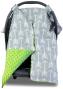 Premium Carseat Canopy Cover with Peekaboo Opening- Large Arrow Print with Lime Green Dot Minky | Best for Infant Car Seat, Boy or Girl | All Weather | Universal Fit | Baby Shower Gift | Newborn Decor