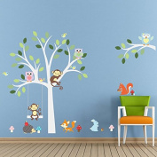 ElecMotive Cartoon Forest Animal Monkey Owls Fox Rabbits Hedgehog Tree Swing Nursery Wall Stickers Wall Murals DIY Posters Vinyl Removable Art Wall Decals for Kids Girls Room Decoration