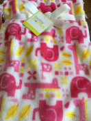 Super Soft Pink and White Elephant and Giraffe Baby Blanket 30x40 in