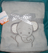 Cutest Grey Elephant Plush Baby Blanket 30 x 30 with Ears That are Semi Attached so They Stick Out