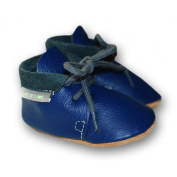 Leather Baby Shoes Retro Dark Blue Medium