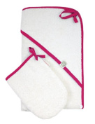 Imse Vimse Organic Hooded Towel & Wash Cloth Set of 2) Pink
