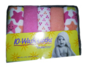 CUDD Letime, Pack of 10 Soft Baby Wash Cloth - Pink