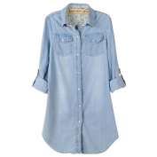Women's Cuffed Sleeve Denim Shirts Blouse Jean Jacket