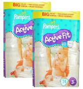 Pampers Active Fit Baby Nappies 74 Nappies Size 3 Midi 4-9 kg Value pack