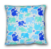 Decorative Cushion Cover 80 x 80cm, Elephants in Blue