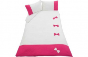 Bow Cream and Pink Bedding Set - Double.