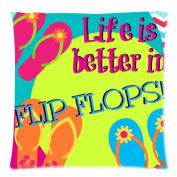 Colourful Flip Flops Square Decorative Throw Pillow Case Cushion Cover - Twin sides Printing - Pillowcase 46cm x 46cm