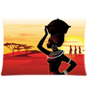 African Women Head Holding Stean Throw Pillow Case Decorative Cushion Cover Pillowcase 16x24 (two sides) Zippered for Sofa