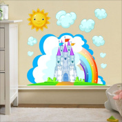 Castle, Sun, Clouds wall sticker Nursery wall decal Childrens Wall Stickers, Multi-Colour Art 206