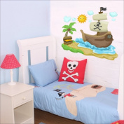 Pirate ship, sun, clouds, palm wall sticker Nursery wall decal Childrens Wall Stickers, Multi-Colour Art 203