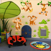 Monkeys wall sticker Nursery wall decal Childrens Wall Stickers, Multi-Colour Art 202
