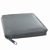 LL Fashion Men's Leather Black Zip-around Bifold Wallet