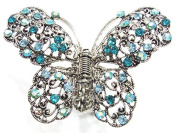 rougecaramel - Crab Metal and Crystal Butterfly Hair Clip Hair Accessories - Blue