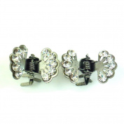 rougecaramel - Accessories - Mini Hair Clamp Crab 2pcs Rhinestones - Flower Grey