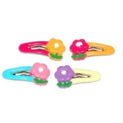 4 Coloured Hair Clips - Colourful Flower