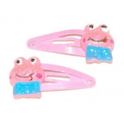 2 Hair clips with Decoration - Pink Frog