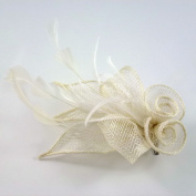 Sisal Accessories Hair Flower Clip or Brooch Flower For Wedding Ceremony - Ivory - rougecaramel