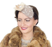 """GENEVA"" WOMENS LADIES LARGE HANDMADE NUDE BEIGE MINK PEARL PEARLS LACE FLOWER TEARDROP VINTAGE STYLE HAT FASCINATOR HEADPIECE RETRO RACES WEDDING FASCINATORS UK BURLESQUE PIN UP"