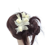 rougecaramel - Flower - Side Comb Hair Accessories for Wedding Ceremony - Beige
