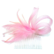 rougecaramel Feathers and Beads - Side Comb Hair Accessories - Pink