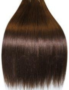 50cm MEDIUM DARK BROWN (Col 4). Full Head Clip in Human Hair Extensions. High quality Remy Hair!. 120g Weight