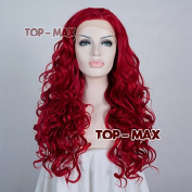 60cm Hot Sell Dark Red Long Curly Stylish Women Lady Party Lace Front Wig