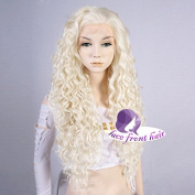 60cm Light Blonde Long Curly Women Heat Resistant Lace Front Hair Wig