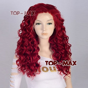 Fashion Wine Red Curly Style 50cm Women Lady Synthetic Lace Front Hair Wigs