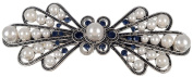Manufacturer2 Women's Antic Silver Filled Crystal Pearl Barrettes Clamp Hairpin Clip Accessories