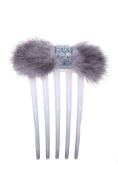 Bridal Hair Comb with Mink and Rhinestones