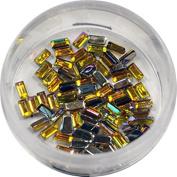 RM Beauty Nails with Rhinestones in Yellow Rectangular Shape Rhinestones Glitter Nail Art and Nail Art
