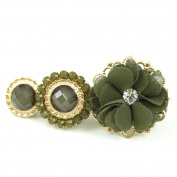 rougecaramel - - Fantasy Flower Clip Hair Accessories and Gold Coloured Metal - Green