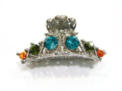 rougecaramel - - Metal Clip Hair Accessories With Blue Crystals - Multi