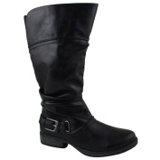 Celebrity NYC Women's Basha Leather Relaxed Mid-calf Boot